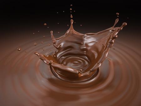 Flüssiger Schokoladenkronenspritzer mit Wellen. Vogelperspektive. Auf schwarzem Hintergrund. Beschneidungspfad enthalten.