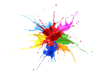 Red, blue, pink, yellow, light blue, orange and green paint splash explosion. Isolated on white background.