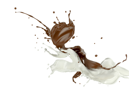 Milk and chocolate , or paint splashing against each other in the air. On white background.