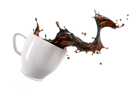Liquid coffee wave splashing out from a white cup mug, isolated on white background.