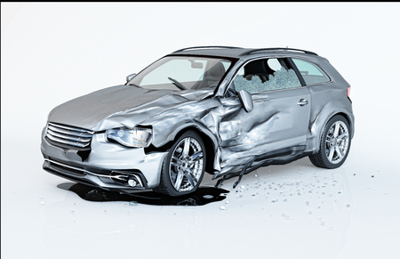 Single car crashed. Silver coupé havily damaged on a side. Isolated on white background. Perspective view.