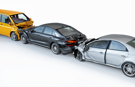 Three cars accident in line. Crashed cars. A black sedan against a yellow van in frontal collision and a silver sedan against the back of the other. Isolated on white background. Bird eye view. Stock Photo