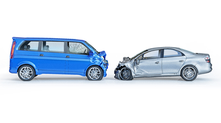 Two cars accident. Crashed cars. A blue van against a silver sedan. Big damage. Isolated on white background. Viewed from a side.