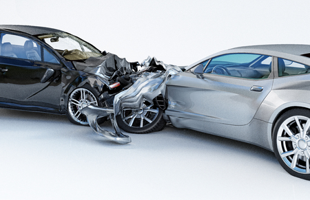 Two cars accident. Crashed cars. One silver sport car against one black sedan. Big damage. Isolated on white background. Close up view.