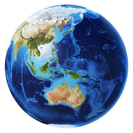 Globe terrestre illustration 3d photoréaliste, sur fond blanc. Vue sur l'Océanie. Sans nuages