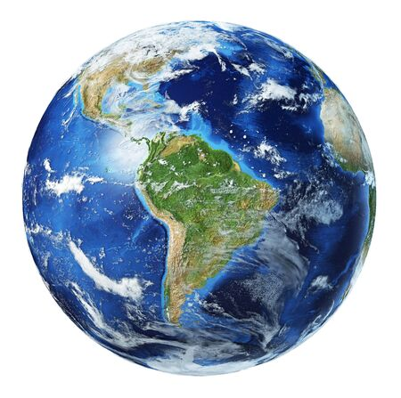 Ilustración 3d del globo terráqueo. Vista de América del Sur. Muy detallado y foto realista. Con nubes sobre fondo blanco.