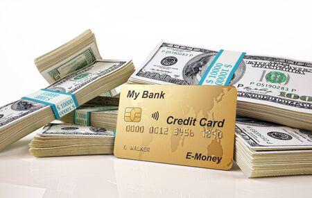 Soldi. Mazzette di banconote da 100 USD e carta di credito. illustrazione 3D su sfondo bianco.
