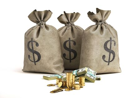 Money bags with stacks of banknotes and golden coins. 3D illustration. On white background. Standard-Bild - 139596569