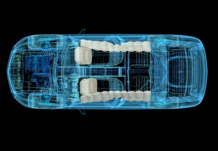 Technical 3d illustration of SUV car with xray effect and airbags system. Top view on black background.