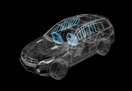 Technical 3d illustration of SUV car with xray effect and airbags system. Perspective view on black background.