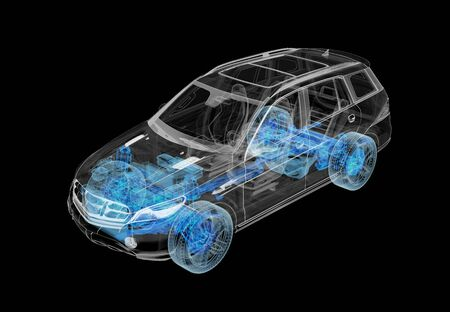 Technical 3d illustration of SUV car with x-ray effect and powertrain system. Perspective view on black background.