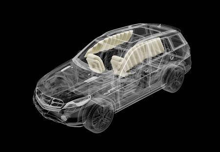 Technical 3d illustration of SUV car with x-ray effect and airbags system. Perspective view on black background.