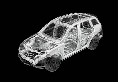 Technical 3d illustration of SUV car with x-ray effect and chassis system. Perspective view on black background. Banco de Imagens