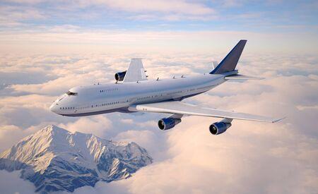 Avions de passagers volant au-dessus des nuages. illustration 3D.
