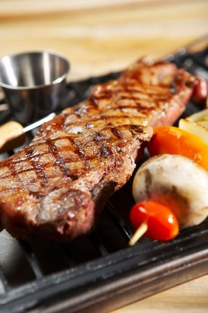 meat in barbecue Stock Photo
