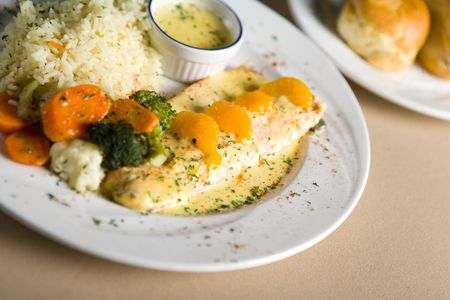 fish, rice and vegetables Stock Photo - 740427