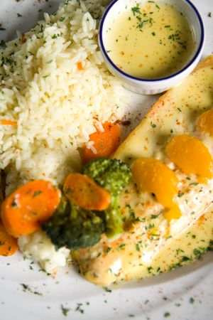 fish, rice and vegetables Stock Photo - 740423