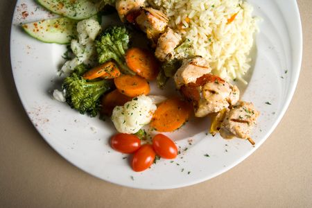 salmon and vegetables Banco de Imagens