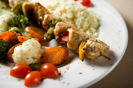 salmon and vegetables Banco de Imagens