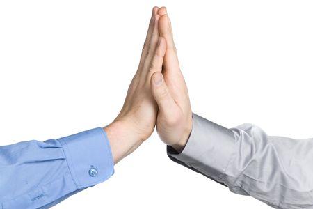 business men hands high five photo