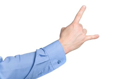 denote: Business man showing devil sign with hand isolated on background Stock Photo