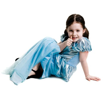 Young girl wearing a blue dress on a white background photo