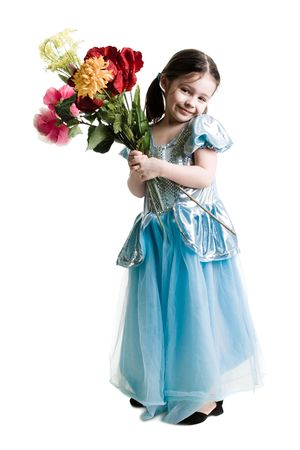 Young girl wearing a blue dress holding a bouquet of flowers on a white background Banco de Imagens - 2764891