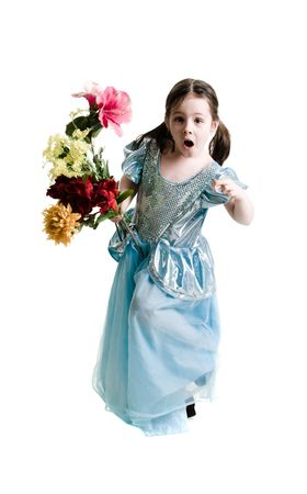 Young girl wearing a blue dress holding a bouquet of flowers on a white background