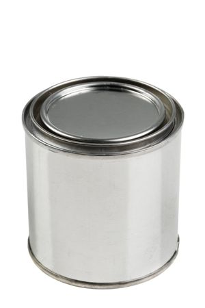 primer: Tin paint can on a white background Stock Photo
