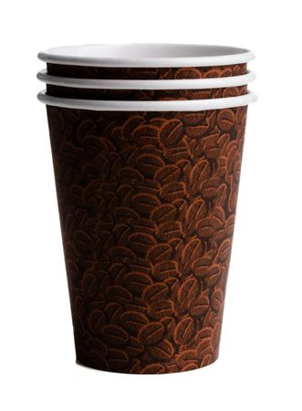 Brown coffee cups with a bean print on a white background Banco de Imagens - 2752056