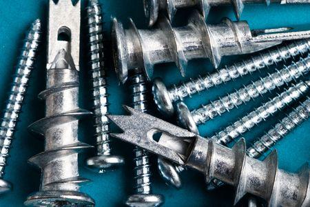 tablaroca: Mezcla de tornillos y anclajes drywall  Foto de archivo