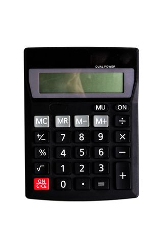 totals: Black basic calculator on a white background