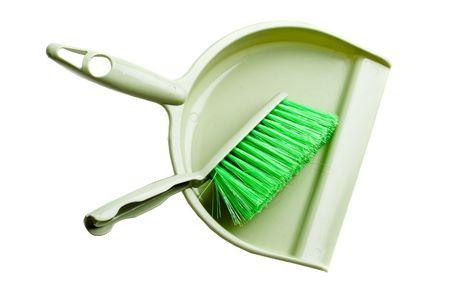 Groene stof pan met penseel op een witte achtergrond Stockfoto