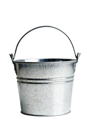metal bucket with handle on a white background Stock Photo