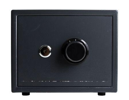 black steel safe on a white background