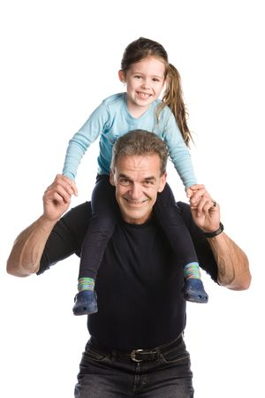 Grandfather holding his granddaughter on his shoulders on a white background