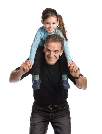 role model: Grandfather holding his granddaughter on his shoulders on a white background