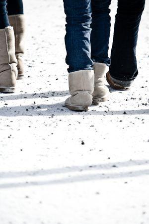 People walking at a ski resort Stock Photo