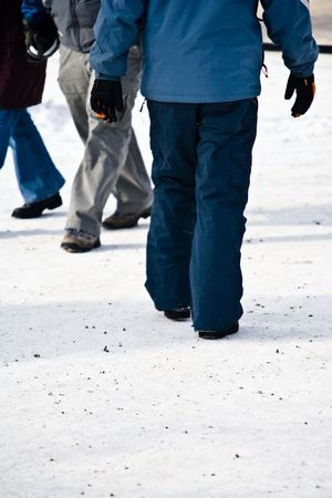 ski walking: A person walking on a snow covered path at a ski resort