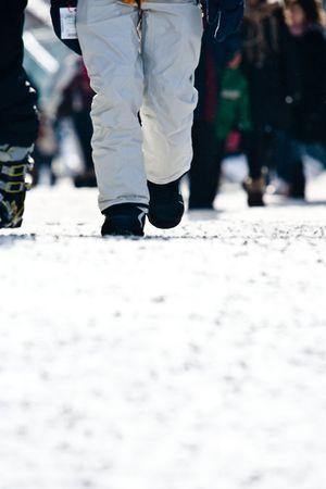 ski walking: People walking at a ski resort Stock Photo