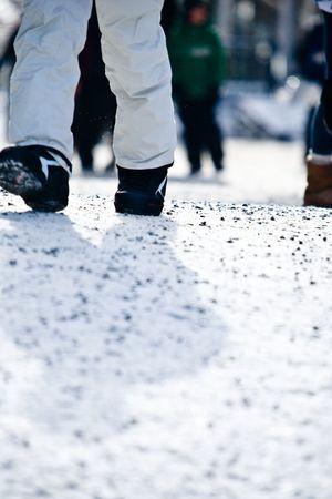 ski walking: A person walking at a ski resort Stock Photo