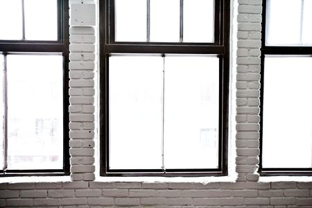windows frame: Windows in a studio Stock Photo
