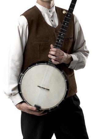 Adult man, playing banjo, isolated on white background. Stock Photo
