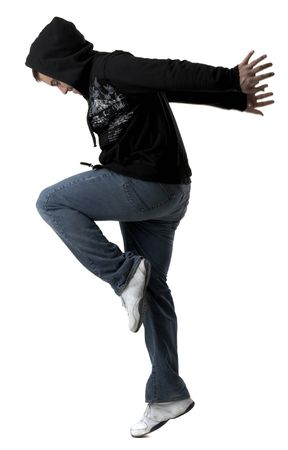 Young man jumping on white background photo