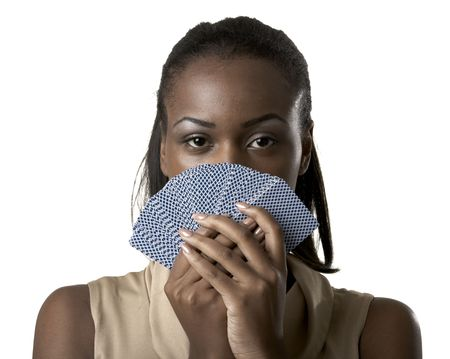 Junge Frau mit Spielkarten vor ihr Gesicht Standard-Bild - 5283716