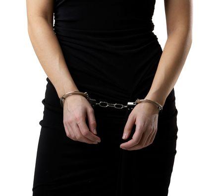 Female body in a black dressed wearing handcuffs photo