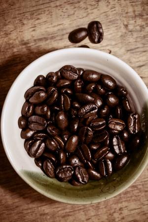 fresh coffee beans in cup Banco de Imagens