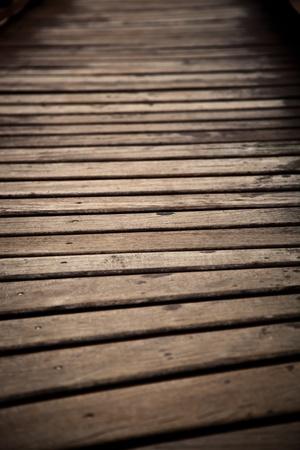 Brown Wood bridge close up with nobody Banco de Imagens