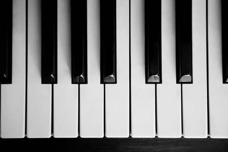 Piano close up on the keyboard with nobody Banco de Imagens