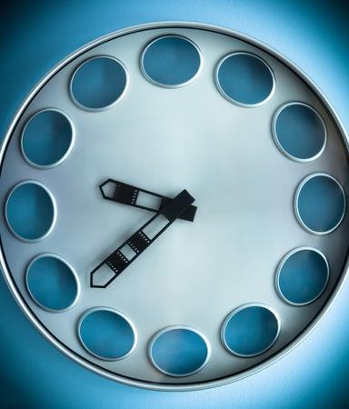 Big blue Metal clock on the Wall Banco de Imagens